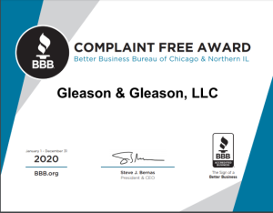Chicago Bankruptcy Lawyers Gleason and Gleason Earn BBB Complaint Free Award 2020